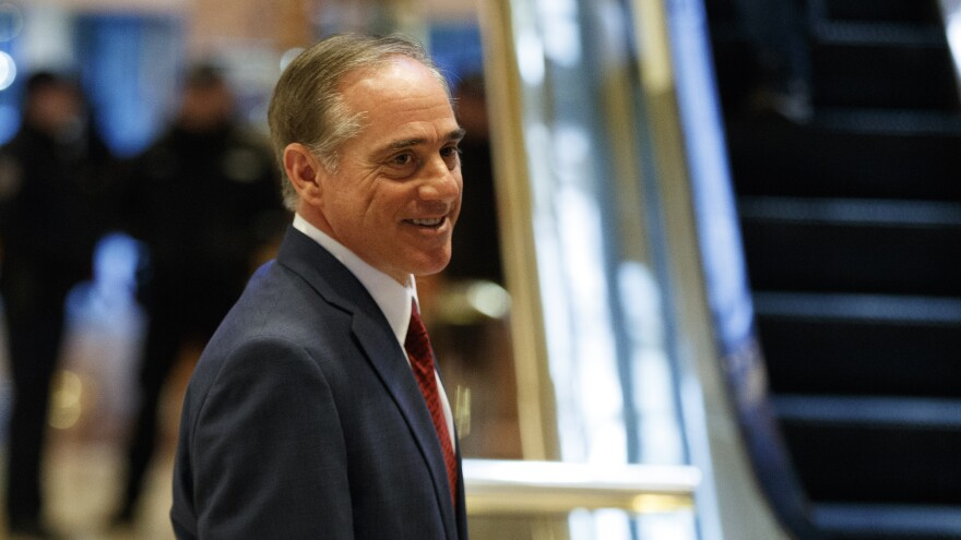 David Shulkin, the undersecretary for health at the Department of Veterans Affairs, leaves a meeting with President-elect Donald Trump at Trump Tower in New York on Monday.