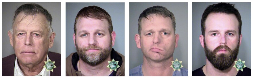 From left: Nevada rancher Cliven Bundy, his sons Ammon and Ryan, and Ryan Payne.
