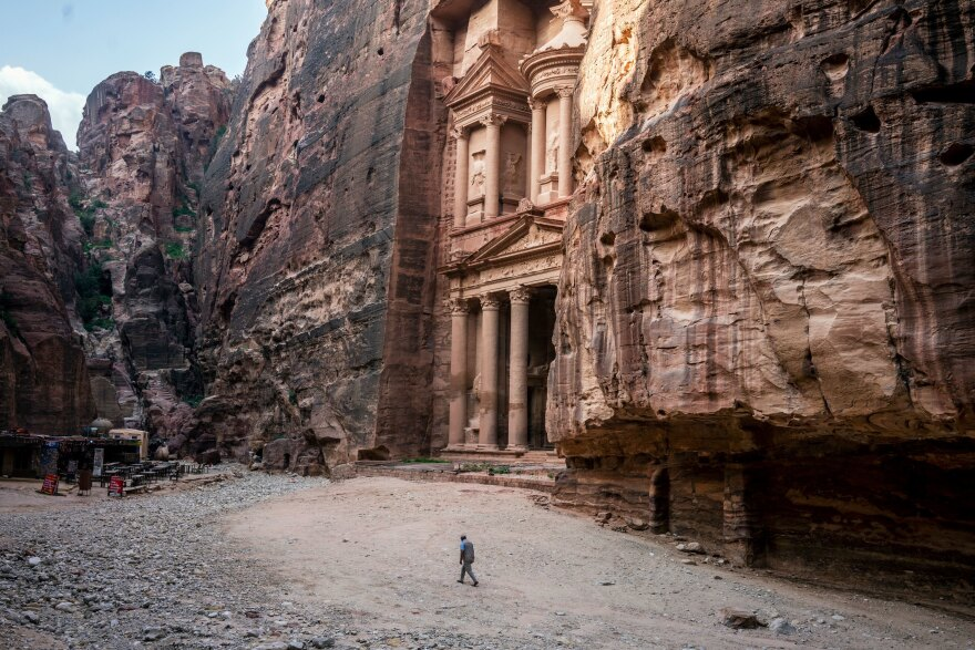Tour guide Mohammad Awwad by the Treasury in Petra, Jordan's biggest tourist destination.