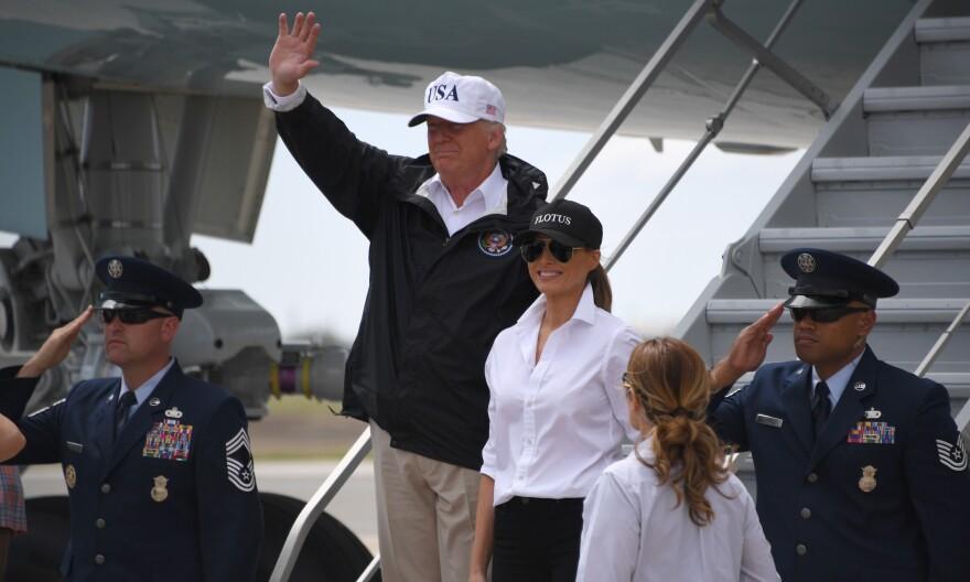 President Trump and first lady Melania Trump arrive in Corpus Christi, Texas, on Tuesday.