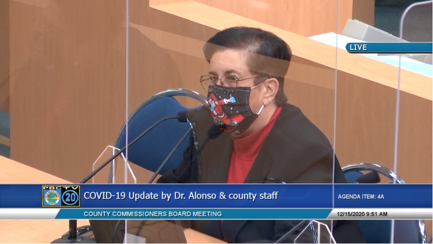 Dr.Alina Alonso screen shot from Palm Beach County commission meeting. December 15, 2020