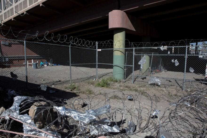 Under the Paso del Norte bridge in El Paso.