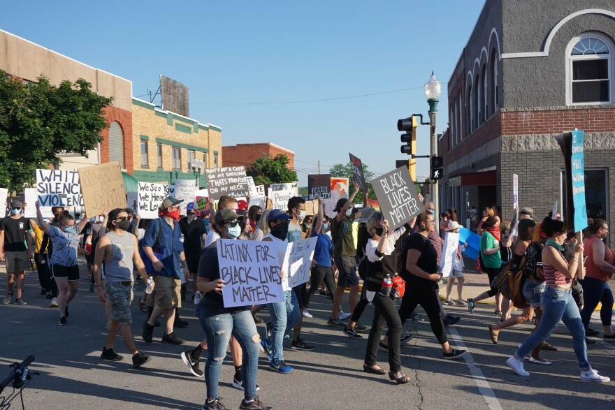 Black Lives Matter protesters march through the streets of downtown Rolla. 06-07-20