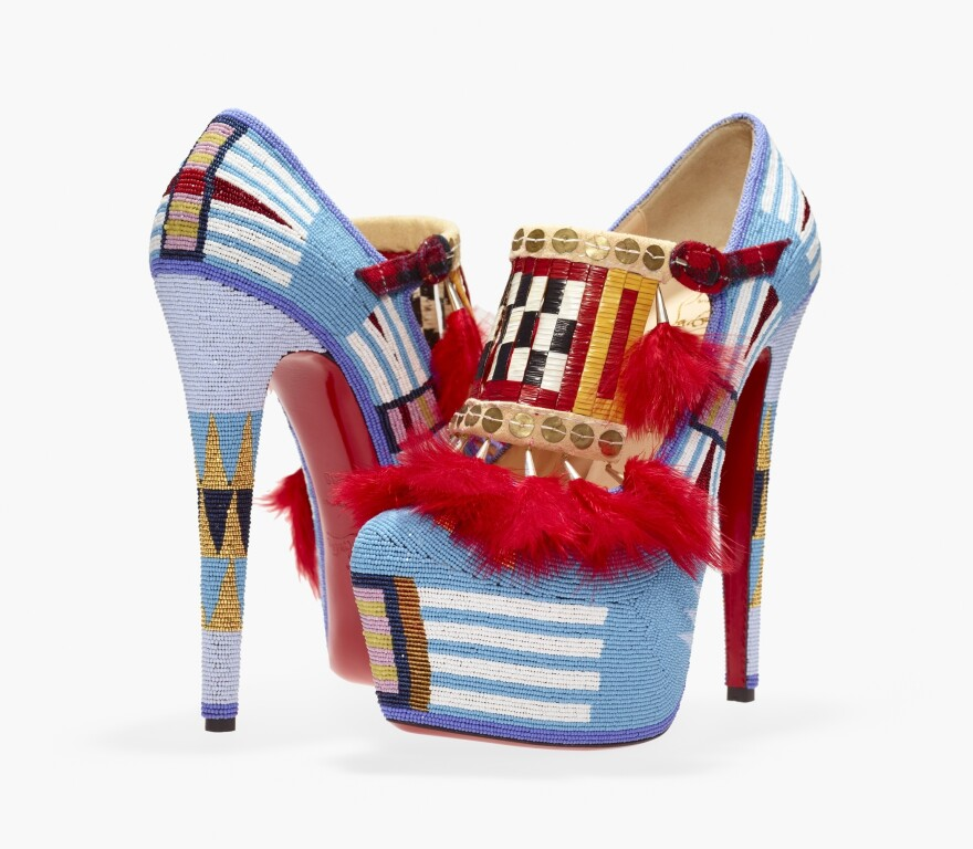 Jamie Okuma (Luiseño/Shoshone–Bannock), <em>Adaptation II,</em> 2012, shoes designed by Christian Louboutin, leather, glass beads, porcupine quills, sterling silver cones, brass sequins, chicken feathers, cloth, deer rawhide, and buckskin