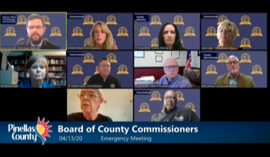 A screenshot of multiple pinellas commissioners sitting in their home or offices while on a zoom video conference.