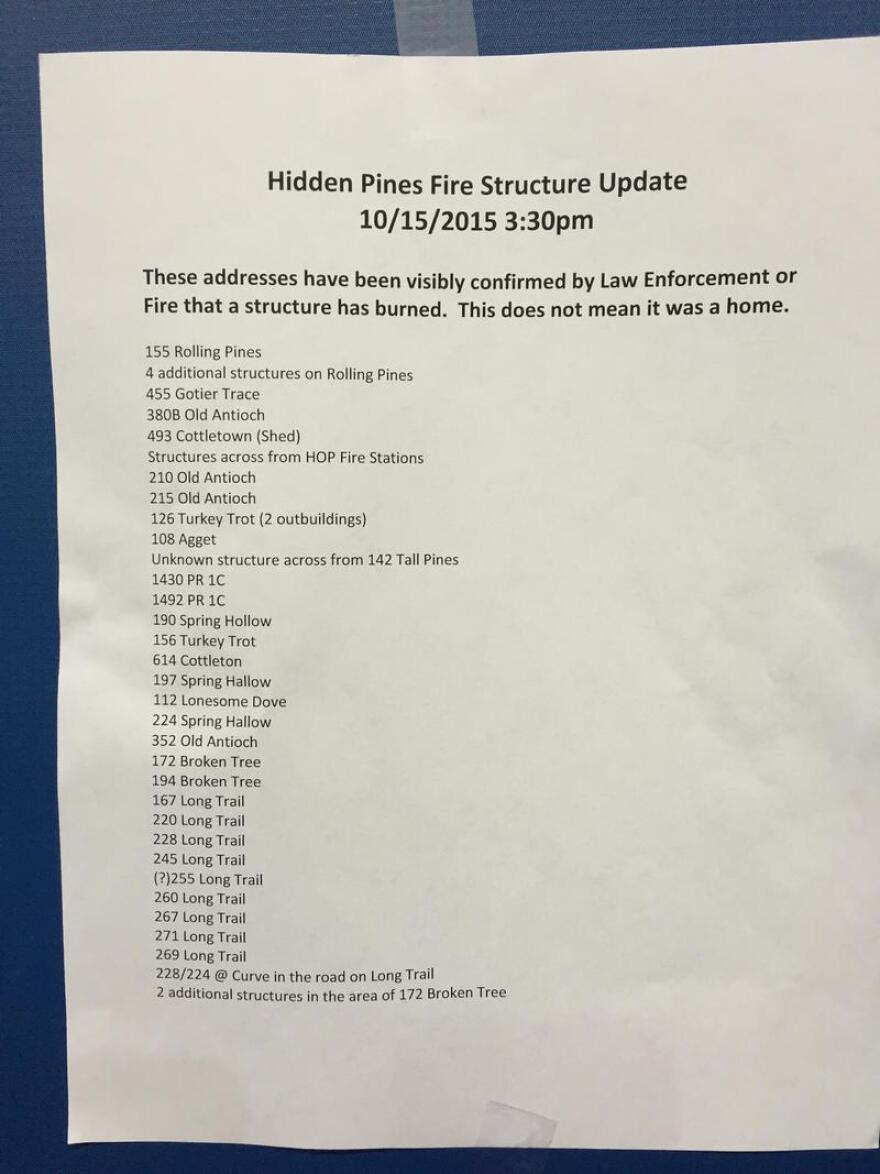 List of home structures (which are possibly but not necessarily all actual homes) confirmed to have burned in the Hidden Pines Fire.