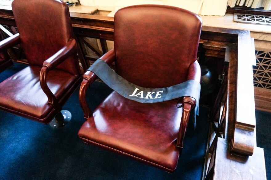 "This is the chair Jason ""Jake"" Green used to sit in. He was scheduled to graduate from the program with Sandra Lamb, but he relapsed, overdosed, and died."