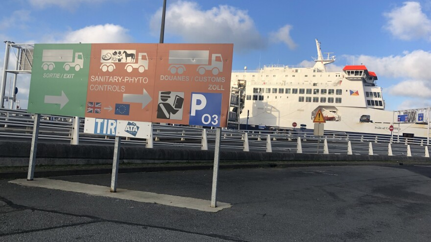 A British P&O passenger and vehicle ferry dockside at the Port of Calais, France, as Brexit approaches.