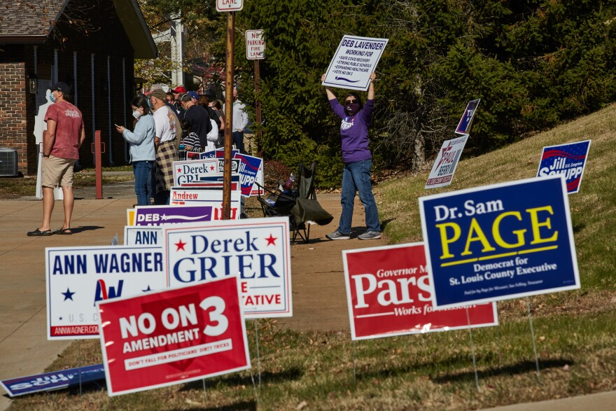 Close up of the many candidate signs outside the voting place at the Ballwin Golf Course and Events Center on Election Day Tuesday, November 3, 2020.