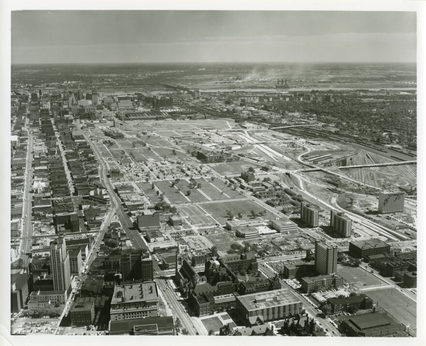 Aerial view of Mill Creek Valley, looking east from Olive and Vandeventer, in 1965