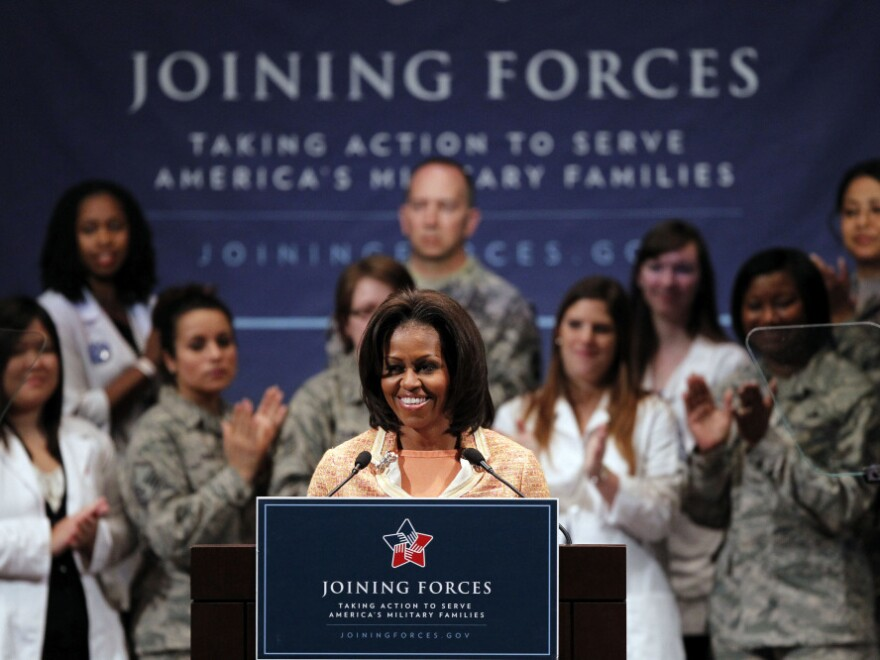 """First lady Michelle Obama at a """"Joining Forces"""" event at the University of Pennsylvania in Philadelphia, Wednesday, April 11, 2012."""