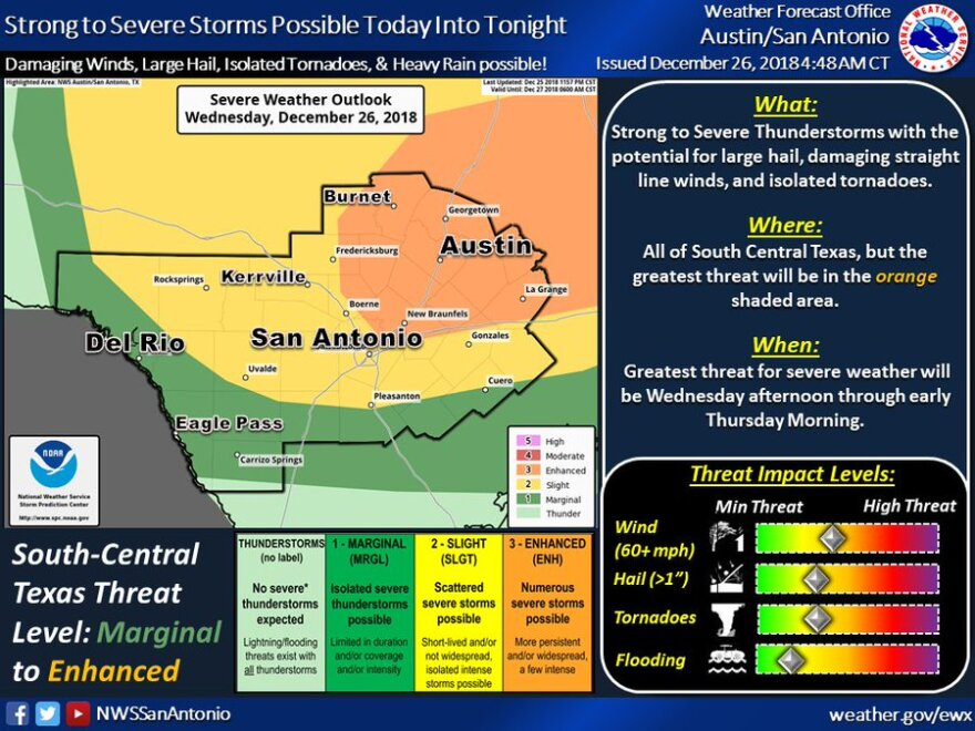 """South Central Texas is under an """"enhanced risk"""" of severe storms from Dec. 26 to the early morning of Dec. 27, 2018."""