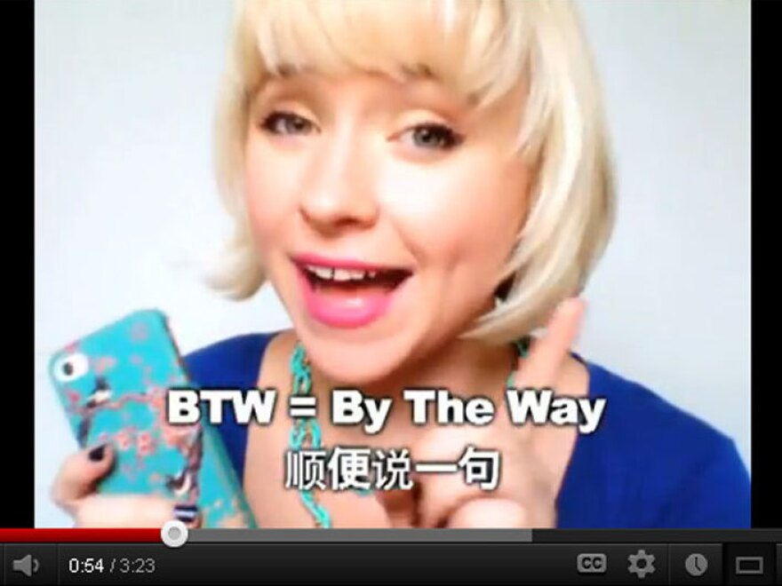 """In one <a href=""""http://www.youtube.com/watch?v=1JWi5VRew0k&feature=relmfu"""">video</a> on her hit video blog OMG! Meiyu, Jessica Beinecke teaches slang terms like """"BTW,"""" """"JK"""" and """"whatev."""""""