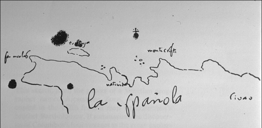 A hand-drawn map by Christopher Columbus shows the northern coast of Española (Hispaniola), where his flagship, the Santa Maria, sank in 1492.