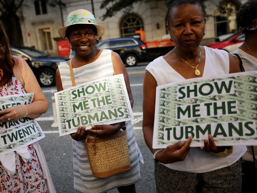 Supporters rallied outside the U.S. Treasury Department in 2019 to demand that American abolitionist Harriet Tubman's image be put on the $20 bill.