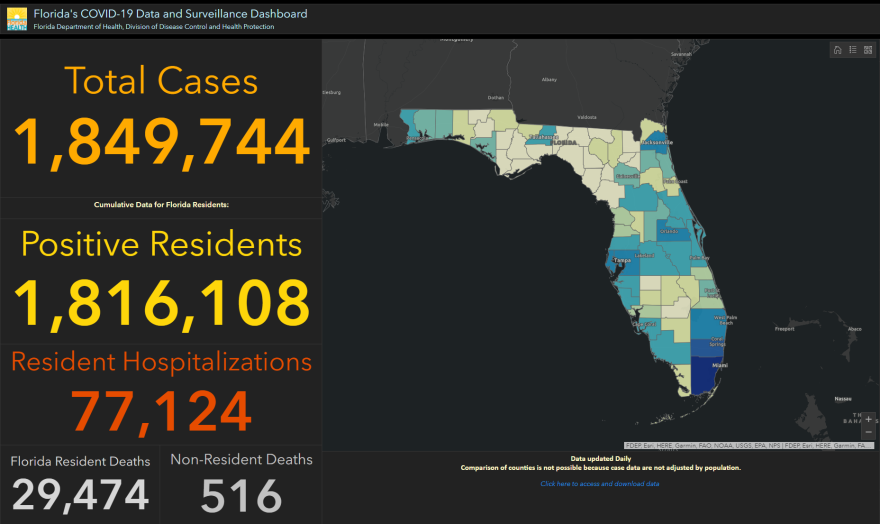 screenshot of Florida's coronavirus dashboard on Feb. 18.