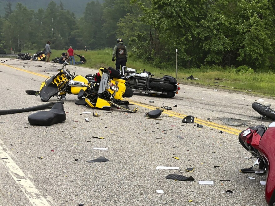This photo provided by Miranda Thompson shows the scene where several motorcycles and a pickup truck collided on a rural, two-lane highway on Friday.