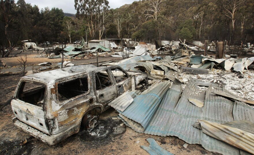 Flowerdale lies in ruins after the bushfires devastated the small community in 2009, destroying most homes and killing 10 town residents.