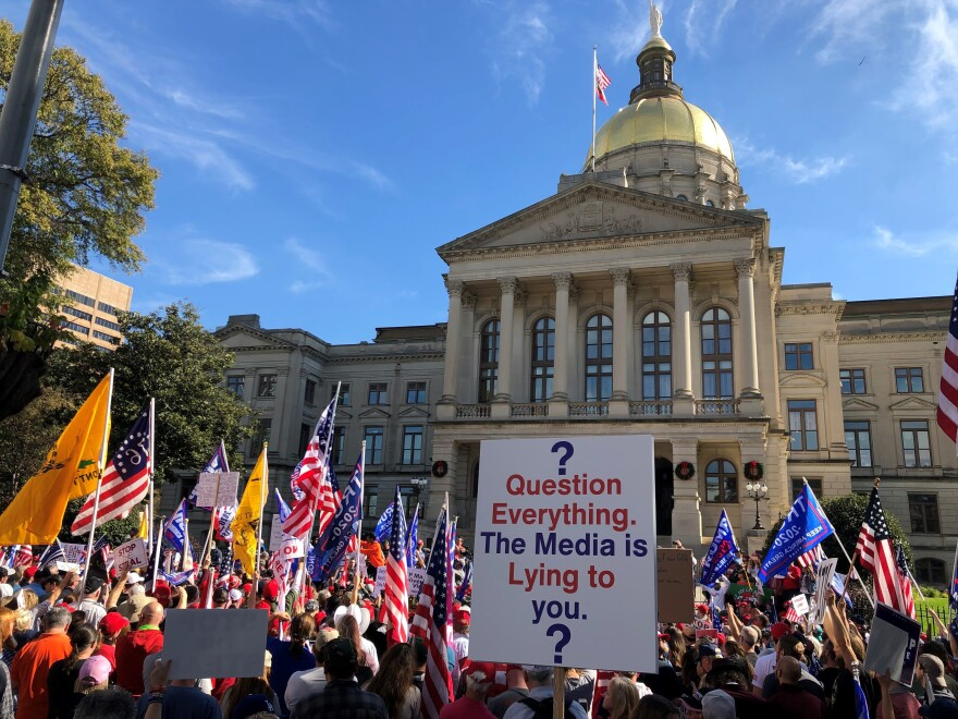A rally organized by pro-Trump supporters to challenge Georgia's election results, outside of the state capitol in Atlanta on Nov. 21, 2020.