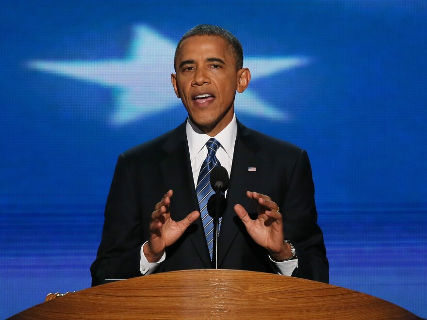 President Obama gives his acceptance speech at the Democratic National Convention.