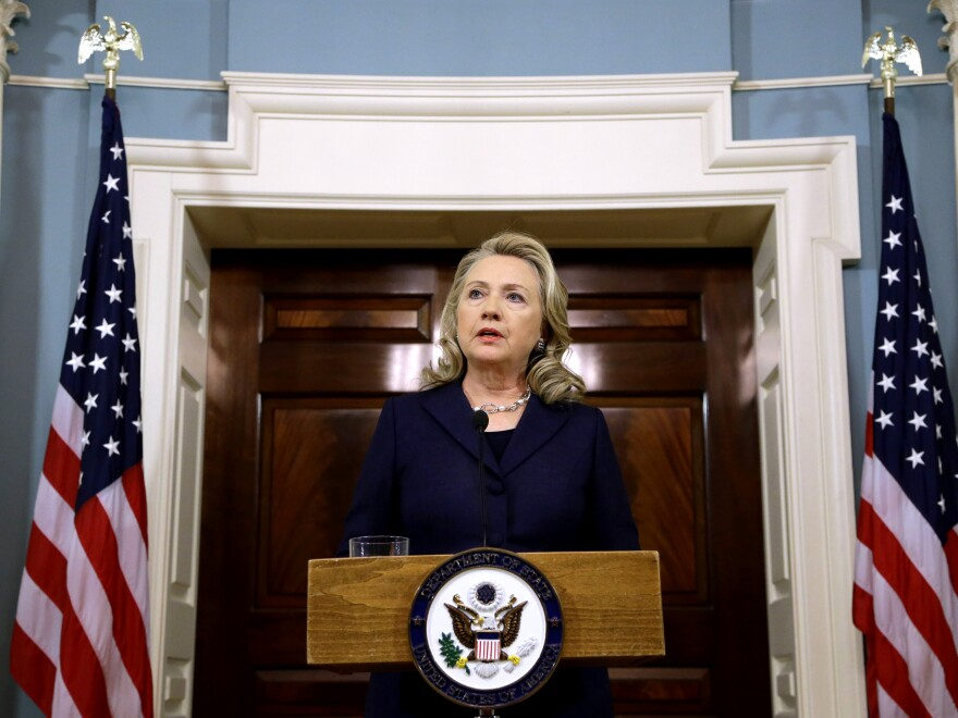 Secretary of State Hillary Rodham Clinton speaks at the State Department in Washington Wednesday, Sept. 12 on the recent deaths of Americans in Libya.