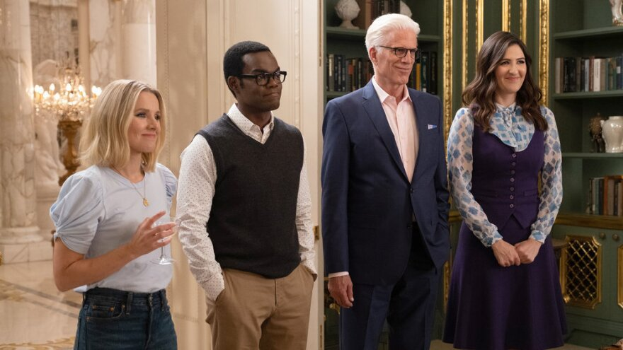 Kristen Bell as Eleanor, William Jackson Harper as Chidi, Ted Danson as Michael and D'Arcy Carden as Janet.
