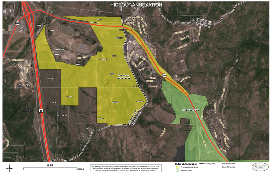 A map of Hideout's annexation plan