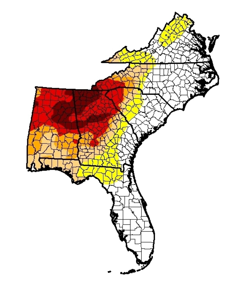 Drought conditions in the Southeast as of Nov. 8. The darker the color, the more severe the drought.