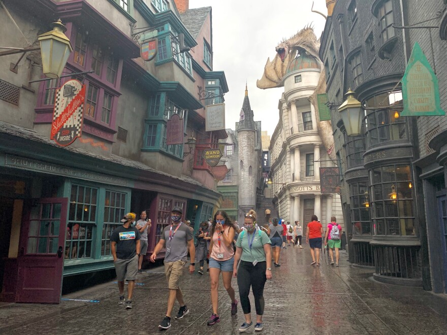 Guests walking in Diagon Alley at Universal Orlando Resort.