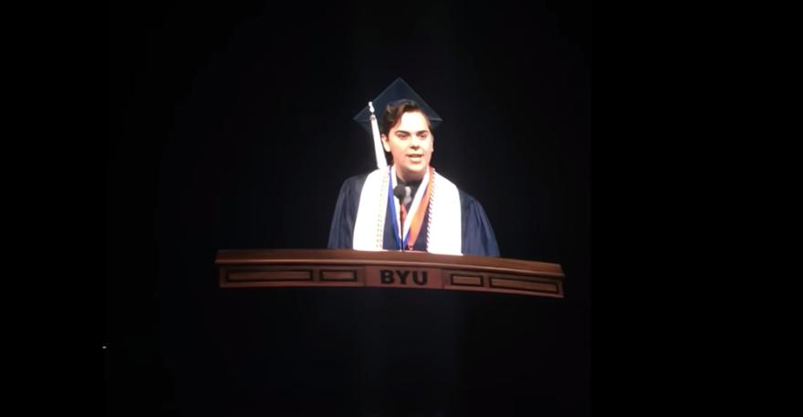 BYU valedictorian Matt Easton at the podium.
