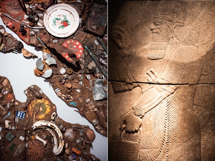 "Left: A mixed media sculpture entitled ""Presence of a Fundamental Absence"" is seen in the Africa Gallery. Right: A relief of an apkallu, a winged genie, is seen in the Middle East gallery."