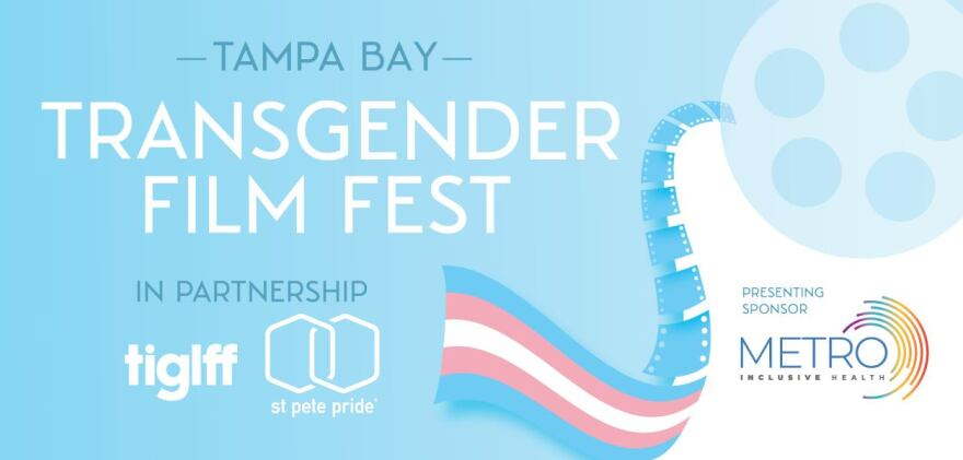 Transgender Film Fest logo, which is a tape reel and tape coming out of it in the trans flag colors of pale blue, pink and white.