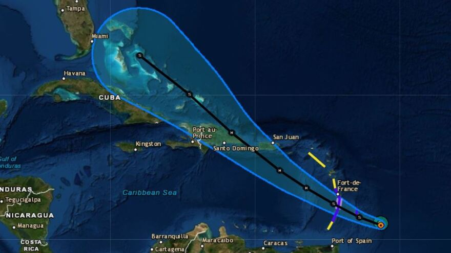 Tropical Storm Dorian is predicted to be a hurricane when it reaches the area of Puerto Rico and the island of Hispaniola this week.
