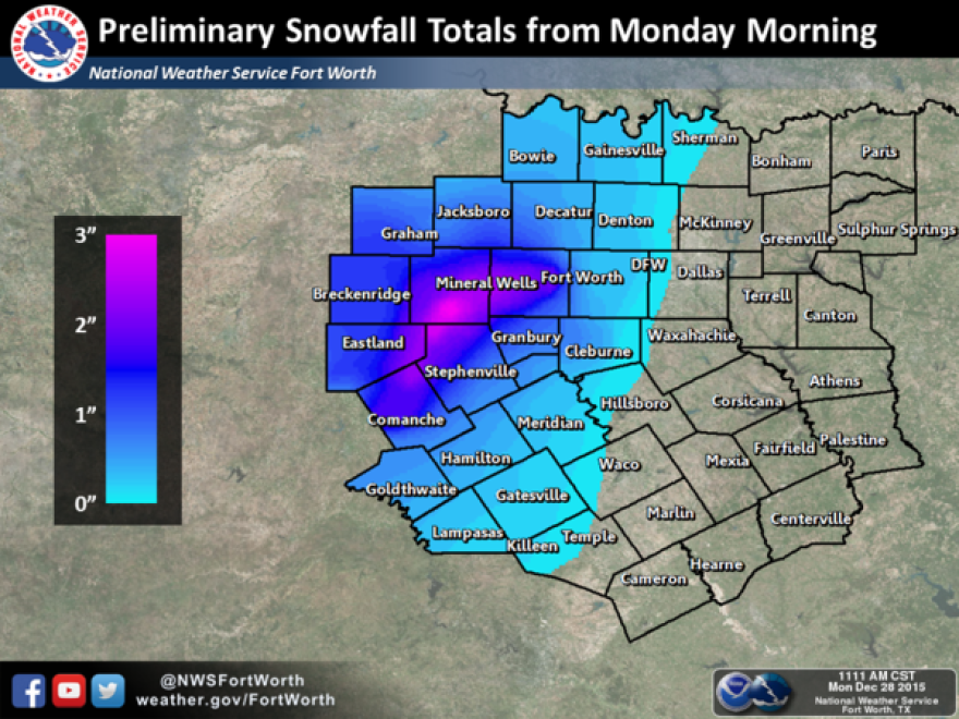 Up to 3 inches of snow fell in some parts of North Texas overnight.