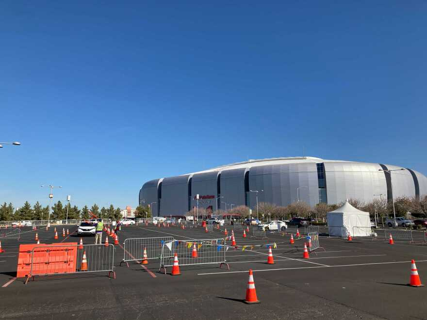State Farm Stadium in Glendale, Arizona, serves as a mass COVID-19 vaccination center. (Peter O'Dowd/Here & Now)