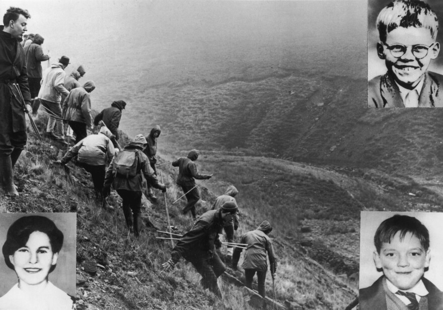 In October, 1965, searchers combed Saddleworth Moor to look for missing children Keith Bennett (top right), Pauline Reade (bottom left) and John Kilbride (bottom right). All three were the victims of so-called Moors Murderers Ian Brady and Myra Hindley.