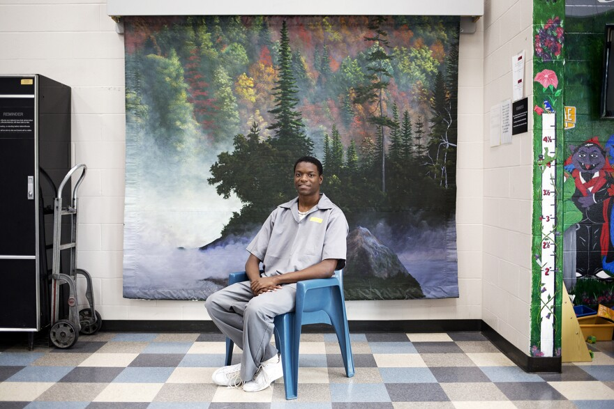 Joshua Williams poses for a portrait in the visiting room at the Jefferson City Correctional Facility. Aug. 2018