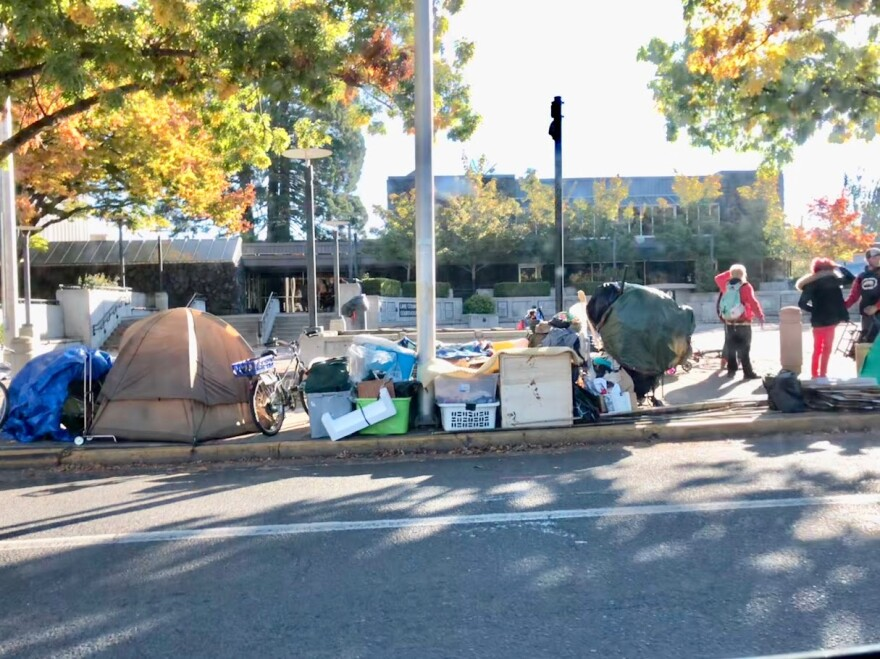A homeless camp set up near the Park Blocks in downtown Eugene (file photo).