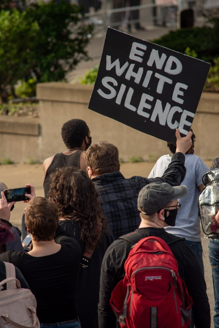 A photo of a protester