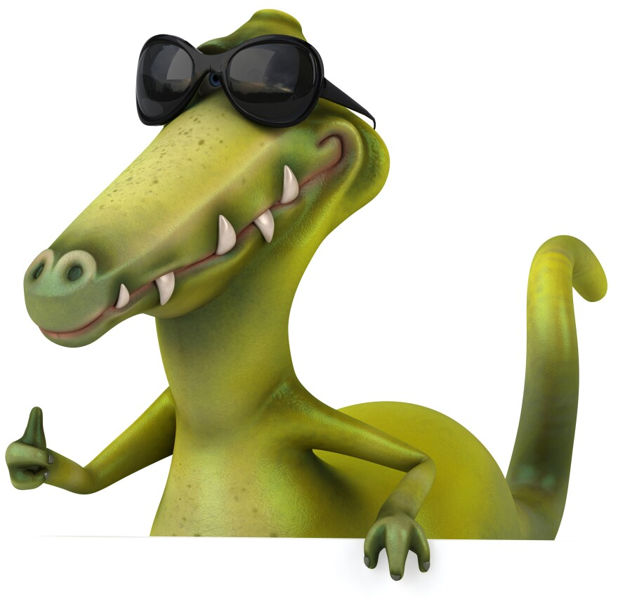 Look, this is a dinosaur, okay? It could be any dinosaur. It has sunglasses on. We're not in scientific reality. Don't ask specific dinosaur questions.