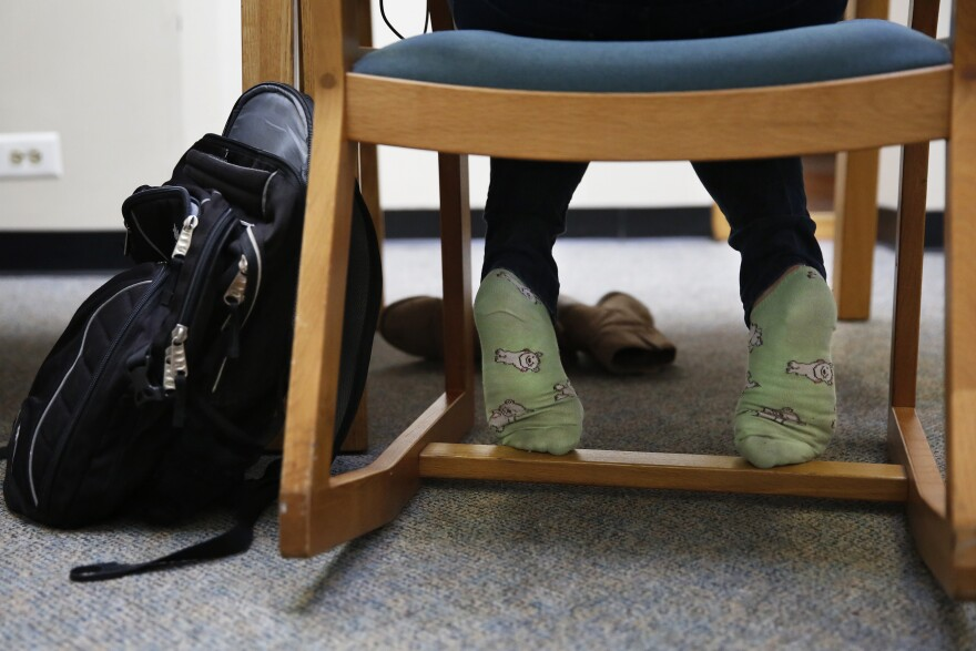 Arbacher gets comfortable studying during fall semester finals at Columbia.