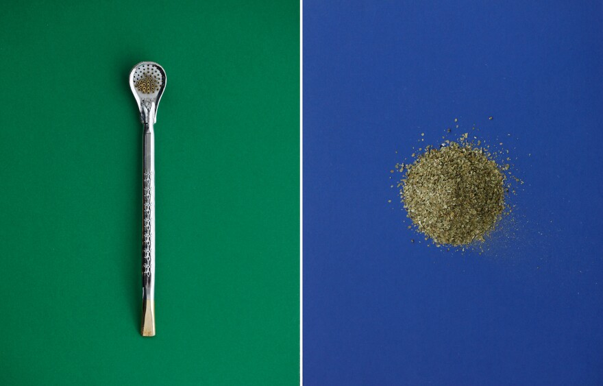 (Left) A<em> bombilla</em>, the metal drinking straw with a strainer at one end that's used to sip yerba mate. (Right) Mate leaves.