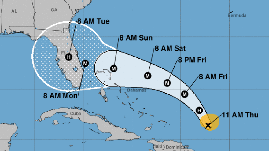 """Hurricane Dorian is likely to make landfall on Labor Day — but its winds and rain will arrive hours earlier. The National Hurricane Center says the """"risk of devastating hurricane-force winds along the Florida east coast and peninsula late this weekend and early next week continues to increase."""""""
