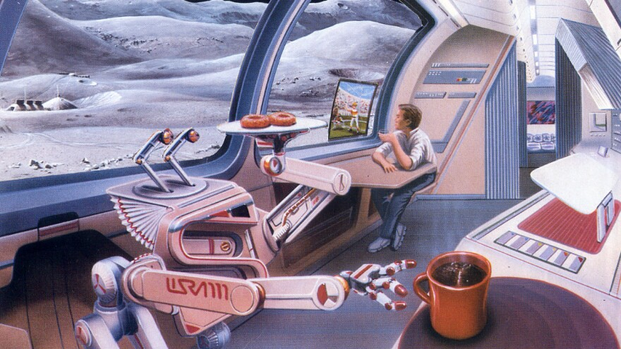 <strong>No Free Doughnuts, Even In Space:</strong> PayPal is announcing a project with SETI, aiming to solve issues around taking regular people — and commerce — into space. Here, an artist's rendering of a space hotel, from the Space Tourism Society.