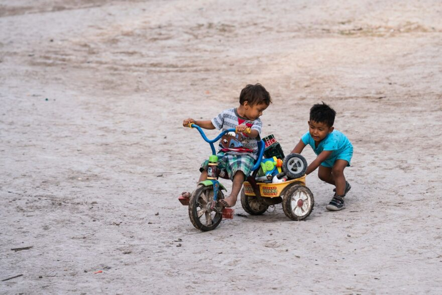 Children play at a refugee camp on the U.S. border in Matamoros, Mexico in July 2020.