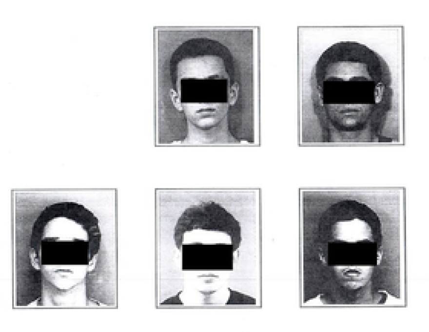 Mugshots of white and Hispanic men that were also used for target practice, according to North Miami Beach Police.