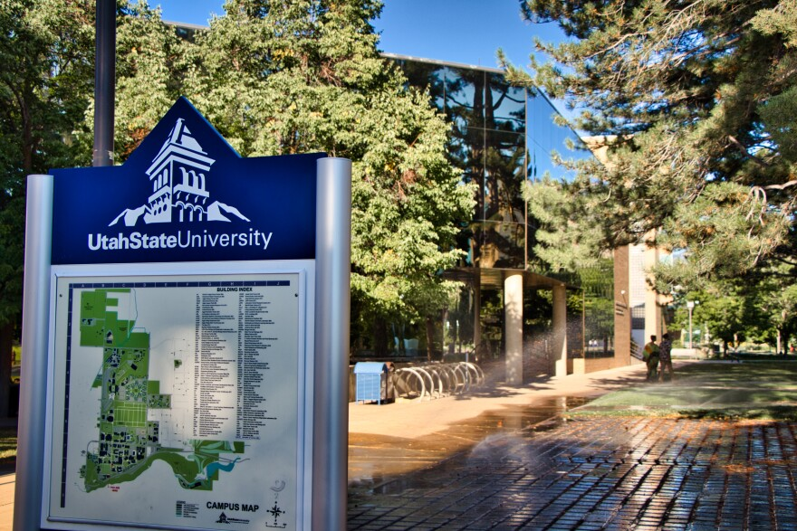 Photo of a campus map on the Utah State University campus