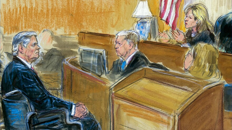 This courtroom sketch shows Paul Manafort listening to Judge Amy Berman Jackson in the U.S. District Courtroom during his sentencing hearing in Washington on Wednesday.