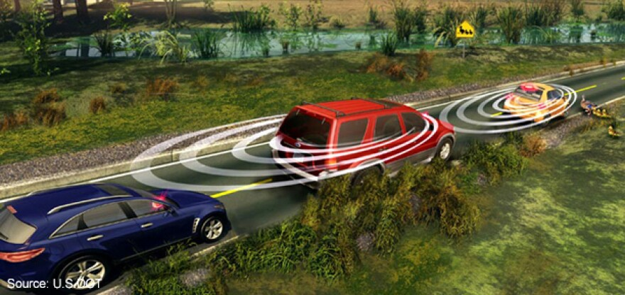 An illustration showing how a vehicle-to-vehicle communication system would work.