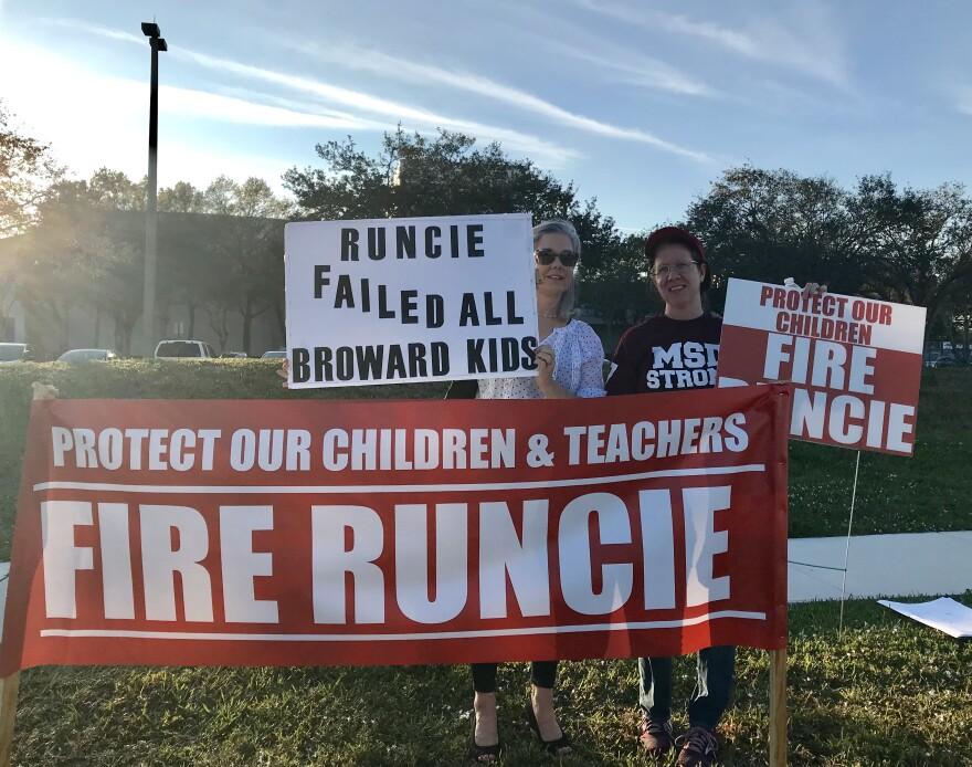 About a dozen parents joined a peaceful protest against Broward Schools Superintendent Robert Runcie outside of Marjory Stoneman Douglas High School, on Feb. 4, 2019.